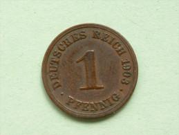1903 A - 1 Pfennig / KM 10 ( Uncleaned Coin - For Grade, Please See Photo ) !! - [ 2] 1871-1918: Deutsches Kaiserreich