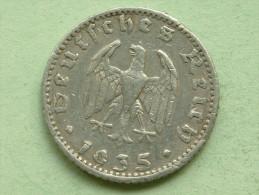 1935 J - 50 Reichspfennig / KM 87 ( Uncleaned Coin - For Grade, Please See Photo ) !! - 50 Reichspfennig