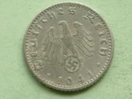 1941 J - 50 Reichspfennig / KM 96 ( Uncleaned Coin - For Grade, Please See Photo ) !! - 50 Reichspfennig