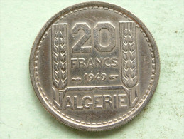 1949 - 20 Francs / KM 91 ( Uncleaned Coin - For Grade, Please See Photo ) !! - Algeria