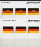 2x3 In Farbe Flaggen-Sticker Deutschland:BRD+DDR 4€ Kennzeichnung Alben Karten Sammlung LINDNER 630+634 Flag Of Germany - Télécartes
