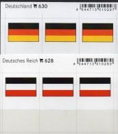 2x3 In Farbe Flaggen-Sticker Deutschland:DR+BRD 4€ Kennzeichnung Alben Karte Sammlung LINDNER 630+628 Flag Germany Reich - Télécartes