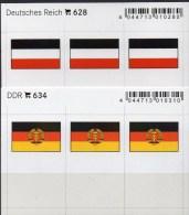 2x3 In Farbe Flaggen-Sticker Deutschland:DR+DDR 4€ Kennzeichnung Alben Karte Sammlung LINDNER 634+628 Flag Germany Reich - Télécartes