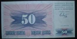 1992 Bosnia Banknote 50 Dinara UNC - Bosnia And Herzegovina