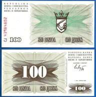 1992 Bosnia Banknote 100 Dinara UNC - Bosnia And Herzegovina