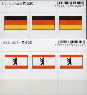 2x3 In Farbe Flaggen-Sticker Berlin+BRD 4€ Kennzeichnung Alben Karten Sammlungen LINDNER 632+630 Flag Germany Westberlin - Phonecards