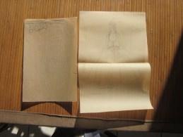 Dessin Fusain (original 1943) Thème Mode Vestimentaire Féminine: Costume D´apparat Papier Kraft Transparent - Dibujos