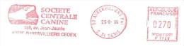 CACHET OBLITERATION FLAMME EMA AUBERVILLIERS SOCIETE CENTRALE CANINE CHIEN  ENVELOPPE 22X11 - Marcophilie (Lettres)