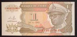 1993 Zaire 1 NK Banknote Leopard UNC - Zaïre