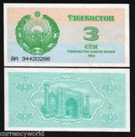 1992 Uzbekistan Banknote 3 Sum UNC - Uzbekistan