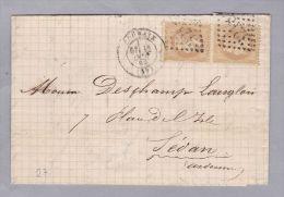 France 59 Nord Roubaix 1869-10-13 Brief Nach Sedan Mit Paar Mi#27 - 1863-1870 Napoléon III Lauré