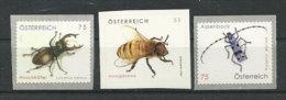 AUTRICHE. Insecte,coléoptère,abeill E Du Pays   3 T-p Neufs ** - Honeybees