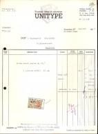 Factuur Facture Brief Lettre  - Fonderie De Caractères Uniptype - Bruxelles 1955 - Printing & Stationeries