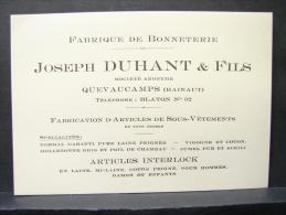 CV. 14. Carte Publicitaire  De La Fabrique De Bonneterie Joseph Duhant & Fils à Quevaucamps - Tarjetas De Visita