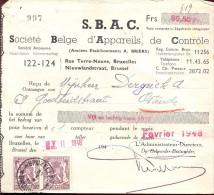 Factuur Facture Brief Lettre  - SBAC - Brussel 1948 - Printing & Stationeries