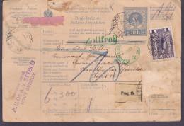Tchecoslovaquie Pour La Suisse - Timbres Autrichiens Sur Entier Postal Obl. 1909 - Cachets Suisses Vert - - Tchécoslovaquie
