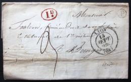 CACHET Type 13 + Boite Rurale  --  LYON  --  RHONE  --  LAC  --  1836 - Storia Postale