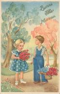 """ENFANTS - Jolie Carte Fantaisie Enfants Et Fleurs """"Bonne Fête Maman """" - Fête Des Mères"""