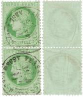 N°53 Paire Verticale - Obl. Assemblée Nationale (impression Légende REP Timbre Du Haut Légèrement Altéré) - 1871-1875 Ceres