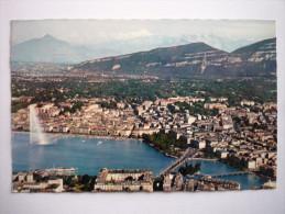 Suisse - Geneve ( 551 Vue Aerienne De La Ville Et La Chaine Du Mont Blanc(4810 M)(timbre-philathelie-tampon  ( 2 Scann ) - GE Genève