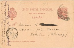7768. Entero Postal BARCELONA A Limburg (holanda) 1899 - Enteros Postales