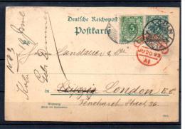 Allemagne 1892, 46 En Port Complémentaire Sur Entier Postal - Deutschland