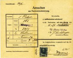 Österreich - 1913, Ansuchen Um Nachnahmeänderung - Briefe U. Dokumente