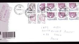 Italia-X- 2004  St Pos Timbro 2006. Donne € 0,45 X 7+ 0,10x2+0,05. Raccomandata. A.R. Vedi Descrizione - 6. 1946-.. Republik