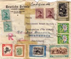 URUGUAY 1950, 11 Fach Misch-Frankierung Auf R-Briefstück - Uruguay