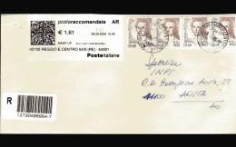 Italia- 2004  St Pos Timbro 2005. Donne € 0,41x4+1,61 Etichetta. Raccomandata. A. R. Vedi Descrizione - 6. 1946-.. Repubblica