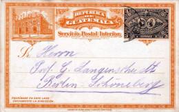 GUATEMALA 1897, 3 Centavos Ganzsache Auf Lithographischer Bildpostkarte Gelaufen Nach Berlin - Guatemala