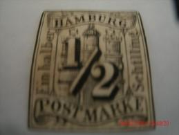 HAMBURG, SCOTT# 1, 1/2 S BLACK, UNUSED NGH - Hamburg