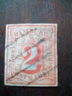 HAMBURG, SCOTT# 3, 2 S RED, USED - Hamburg