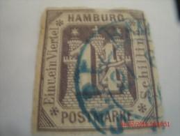HAMBURG, SCOTT# 24, 1&1/4 S VIOLET, USED - Hamburg