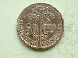 1926 - 50 Cent BELGISCH CONGO / KM 23 ( Uncleaned Coin - For Grade, Please See Photo ) !! - Congo (Belge) & Ruanda-Urundi