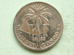 1925 - 1 FRANK / KM 21 ( Uncleaned Coin - For Grade, Please See Photo ) !! - Congo (Belgian) & Ruanda-Urundi