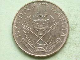 1973 - DIX (10) MAKUTA / KM 7 ( Uncleaned Coin - For Grade, Please See Photo ) !! - Zaïre (1971-97)