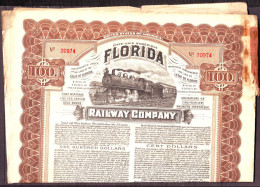 Action ILLUSTREE De FLORIDA  RAILWAY COMPANY  Coupons Janv 1913 A Juillet 1959  En L Etat - Transports