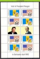 Mwv029b FAUNA VOGELS PRESIDENT RONALD REAGAN PRIME MINISTER TOM ADAMS FISH FLAGS BIRDS AVES OISEAUX BARBADOS 1982 PF/MNH - Acteurs