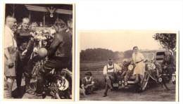 2 Fotos , Sieger Bahnrennen In Herxheim , 8.8.1937 , Motorradrennen , Motorrad , Grasbahn , Sandbahn , Speedway , Moto ! - Motorräder