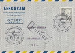 SUEDE - 1954 - LETTRE AEROGRAMME Avec 1° VOL STOCKHOLM à LOS ANGELES - RETOUR à L'ENVOYEUR