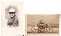 2 Fotos Bahnrennen München Um 1920 , Mit Autograph , Motorrad , Sandbahn , Speedway , Grasbahn !!! - Motorräder