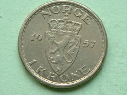 1957 - 1 Krone / KM 397.2 ( Uncleaned Coin - For Grade, Please See Photo ) !! - Norvège