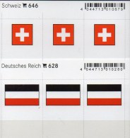 2x3 In Farbe Flaggen-Sticker Schweiz+DR 4€ Kennzeichnung Alben Karten Sammlungen LINDNER #628+646 Flags Helvetia Germany - Unclassified
