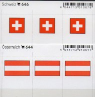 2x3 In Farbe Flaggen-Sticker Schweiz+Österreich 4€ Kennzeichnung Alben Karten Sammlung LINDNER #644+646 Helvetia Austria - Autres Collections