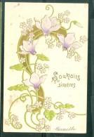 Souhaits Sincères  , Carte Gauffrée , Fleurs   - Daz81 - Non Classés