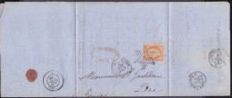 France - Lettre N° 38 Obl 1872 - Cachets: étoile 1 / Place De La Bourse / Paris A Bordeaux  D / Dax - 1849-1876: Classic Period