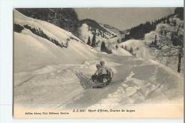 SPORT D' HIVER - COURSE De LUGE Avec Les Enfants - Edition Jullien Frères Genève - 2 Scans - Sports D'hiver