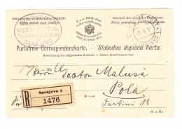 1918 - Portofreie Correspondenz-karte Als R-Brief Von Sarajevo 9.11.18 Nach Pola - Bosnie-Herzegovine