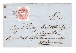 """1866 Brief Mit Mi#32 5 Kr 1864 Entwertet 2-Zeil. """"RAGUSA"""" Nach Sarajevo über Metcovitch - 1850-1918 Imperium"""